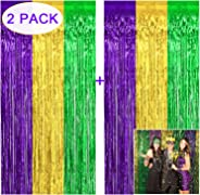 Tifeson Mardi Gras Metallic Foil Fringe Curtain Backdrop - 2 PCS 3.2