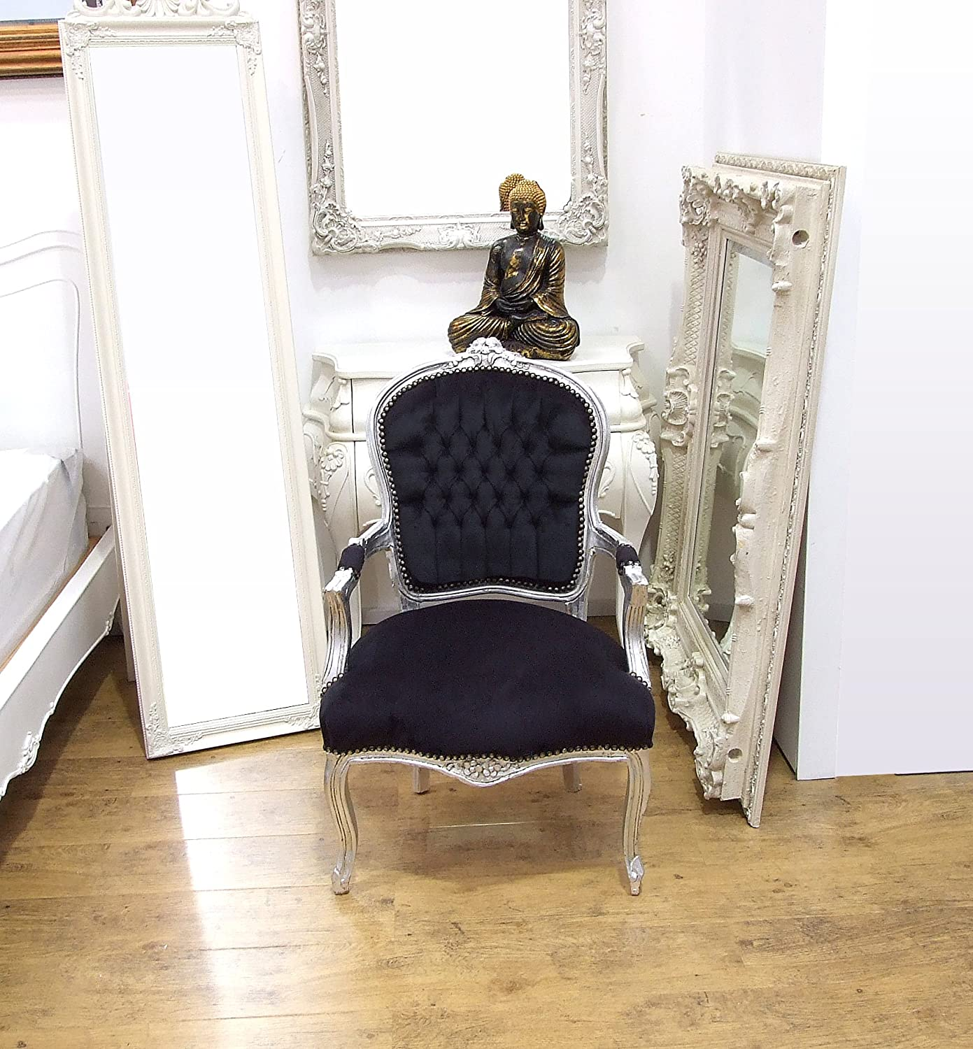 Vintage Retro Shabby Chic French Louis XV Style Chair With Black Fabric  Upholstery And Silver Carved Wood Frame: Amazon.co.uk: Kitchen U0026 Home