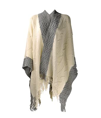 194197875c998 ZLYC Women Soft Textured Knit Blanket Wrap Fringe Poncho Cardigan Sweater  with Contrast Trims, Beige