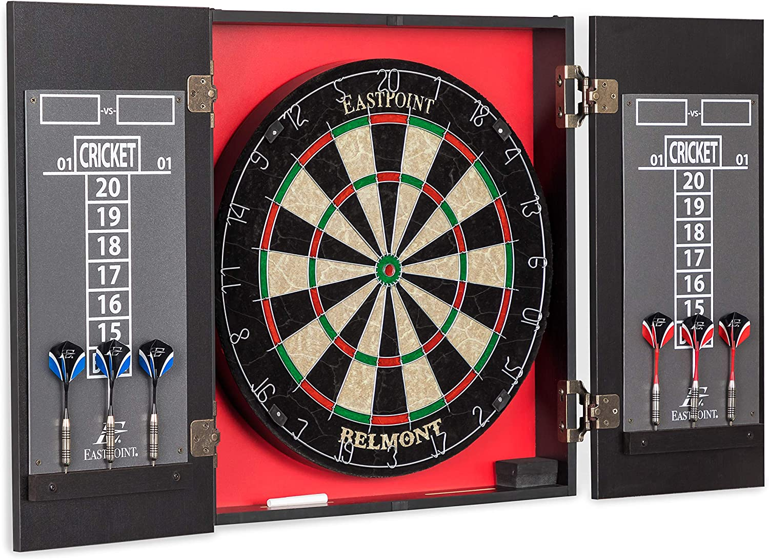 EastPoint Sports Belmont Bristle Dartboard and Cabinet Set - Features Easy Assembly - Complete with All Accessories : Sports & Outdoors