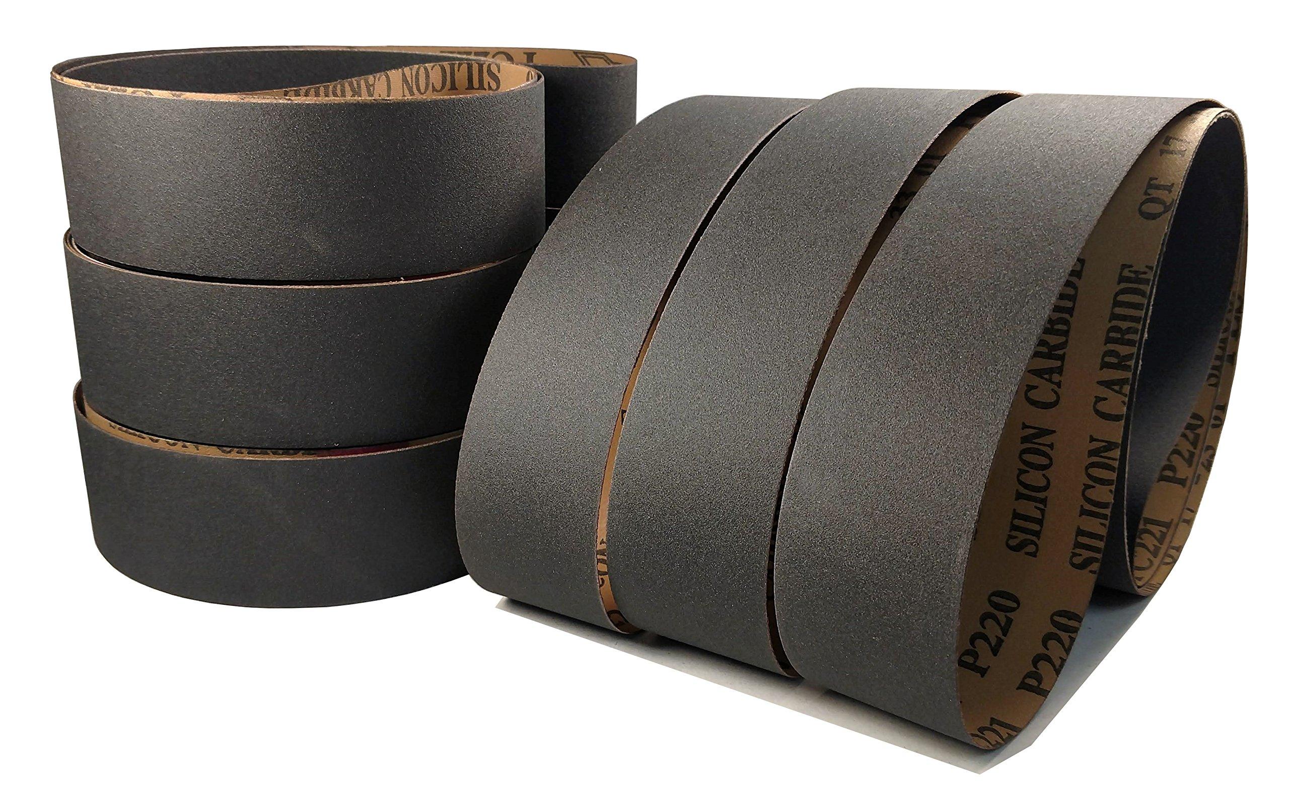 2 X 72 Premium Silicon Carbide Sanding Sharpening Belts - 6 Packs and Assortments (Fine Grit Assortment 220, 320, 400 Grit)