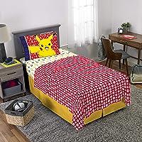 Pokemon Pikachu Character Kids Juego de sábanas de Microfibra Suave, tamaño Individual, Paquete de 3 Piezas, Multicolor