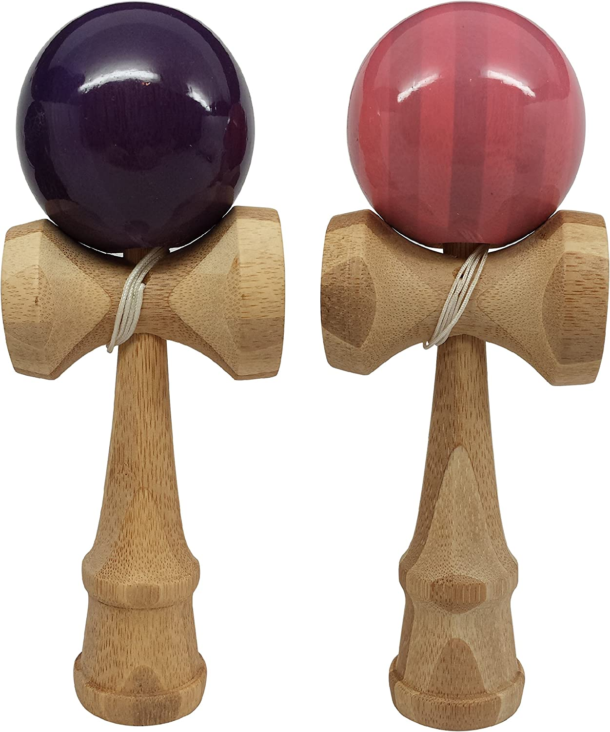 KENDAMA TOY CO. 2 Pack - The Best Kendama for All Kinds of Fun (Full Size) - 2 Pack- Awesome Colors: Pink/Bamboo Purple/Bamboo Set - Solid Bamboo Wood -Create Better Hand and Eye Coordination