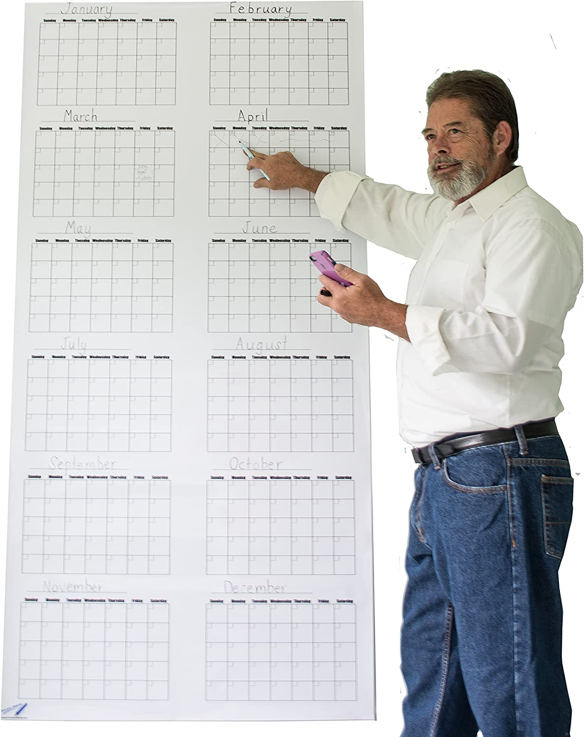 Vertical Blank Year Dry Erase Wall Calendar - 36 x 72 Inch Large Vertical Calendar Whiteboard - Vinyl White Board Calendar Poster -Command Center Office Products
