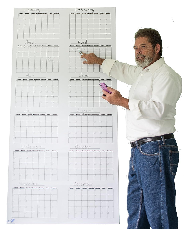 Annual Wall Calendar Big - Blank Dry Erasable Vertical - 91.5 cm x 183 cm Oversize Calendar OV-V3672