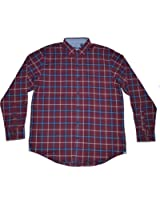 IZOD Men's Long Sleeve Button Down Classic Fit Plaid Oxford Shirt Fig