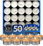 Ohr Tea Light Candles - 50 Bulk Pack - White Unscented Travel, Centerpiece, Decorative Candle - 4 Hour Burn Time.