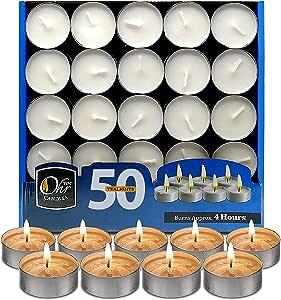 Velas de Té Ohr - Pack de 50 velas - Velas Blancas, para Centros ...