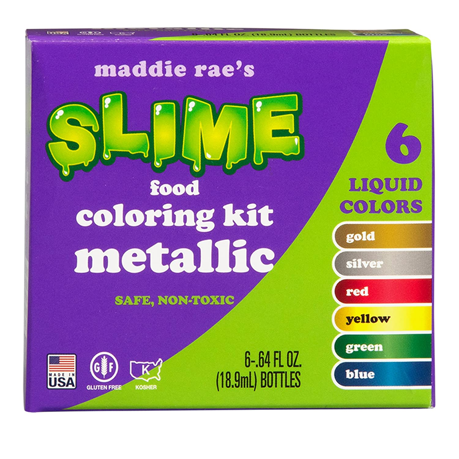 Amazon.com : Maddie Rae\'s Food Coloring Kit - 6 METALLIC Color ...