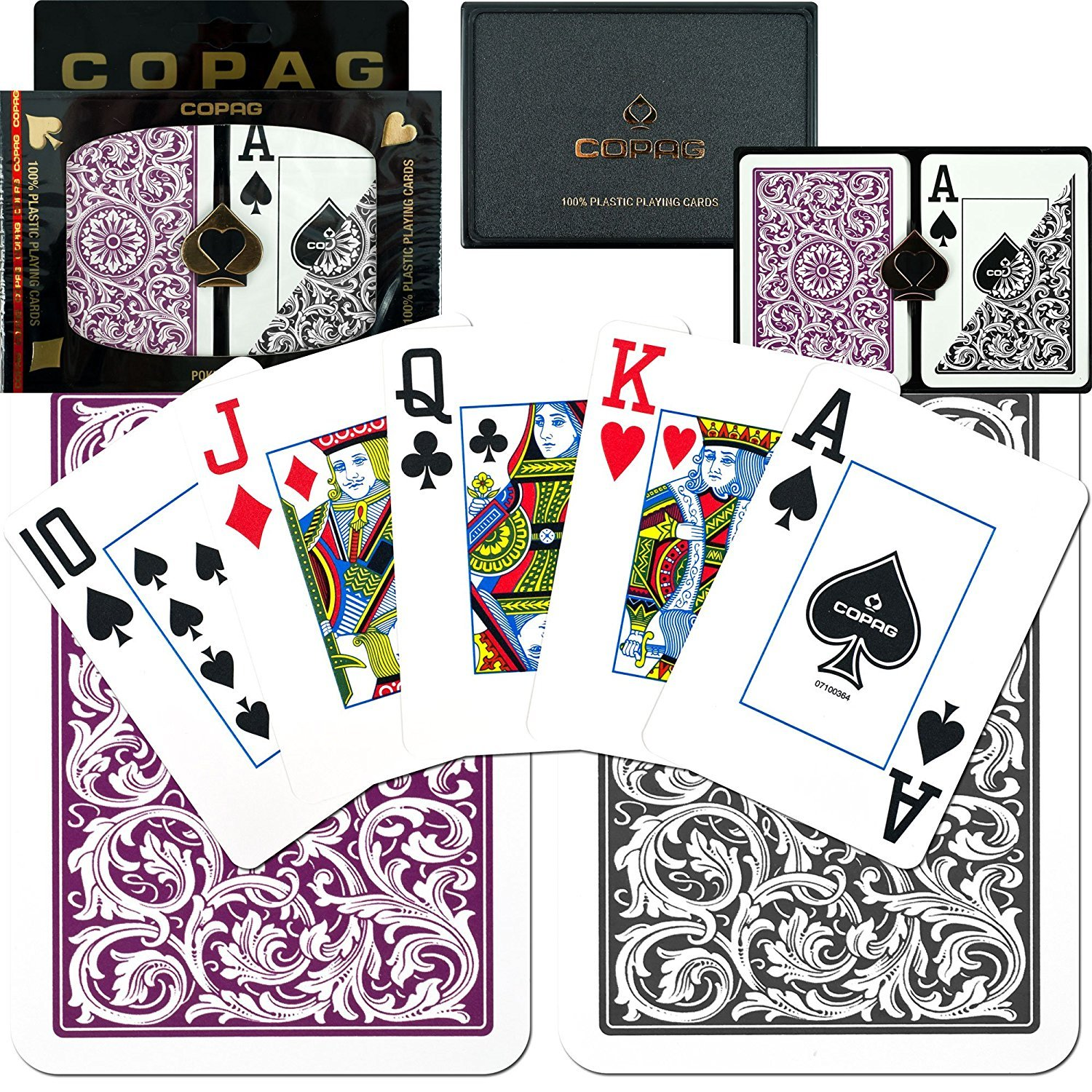 Copag 1546 Poker Purple/Gray Jumbo Index, Playing Cards 3 Pack