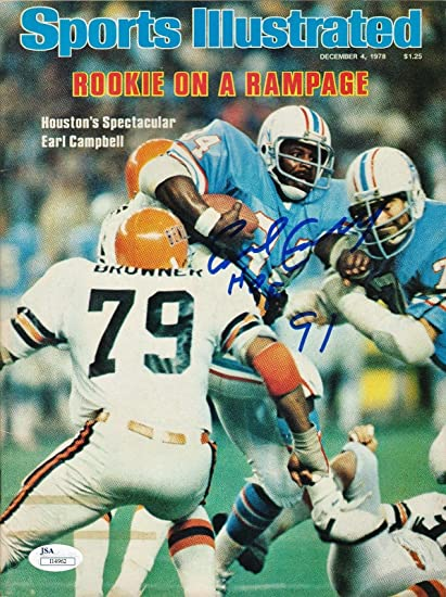 buy popular a871c 33008 Earl Campbell Houston Oilers Autographed Sports Illustrated ...