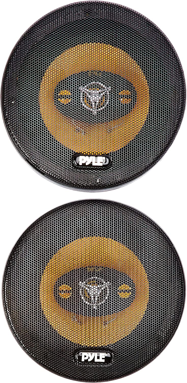 "Car Four Way Speaker System - Pro 6.5 Inch 300 Watt 4 Ohm Mid Tweeter Component Audio Sound Speakers For Car Stereo w/ 40 Oz Magnet Structure, 2.25"" Mount Depth Fits Standard OEM - Pyle PLG6.4 (Pair)"