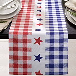 tiosggd 4th of July Patriotic Table Runner 72 Inches Long Gingham with Red White and Blue Buffalo Plaid and Stars for American USA Flag Independence Day Memorial Day Holiday Decor