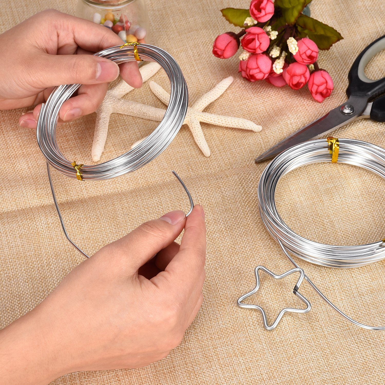 Tecunite 32 8 Feet Silver Aluminum Wire Bendable Metal Craft Wire For Making Dolls Skeleton Diy