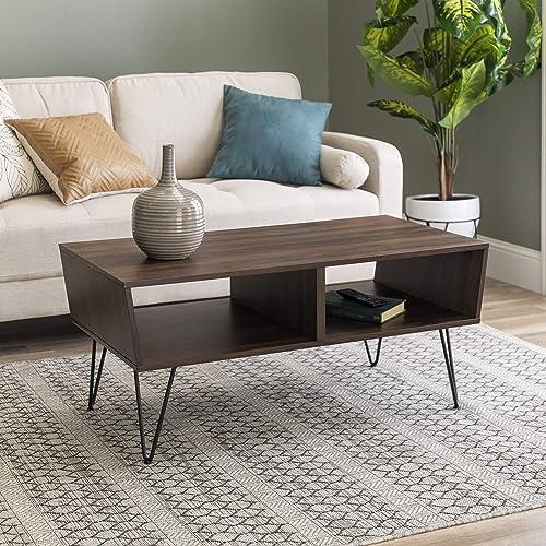 Walker Edison Mid Century Modern Hairpin Wood Rectangle Coffee Table Living Room Accent Ottoman Storage Shelf