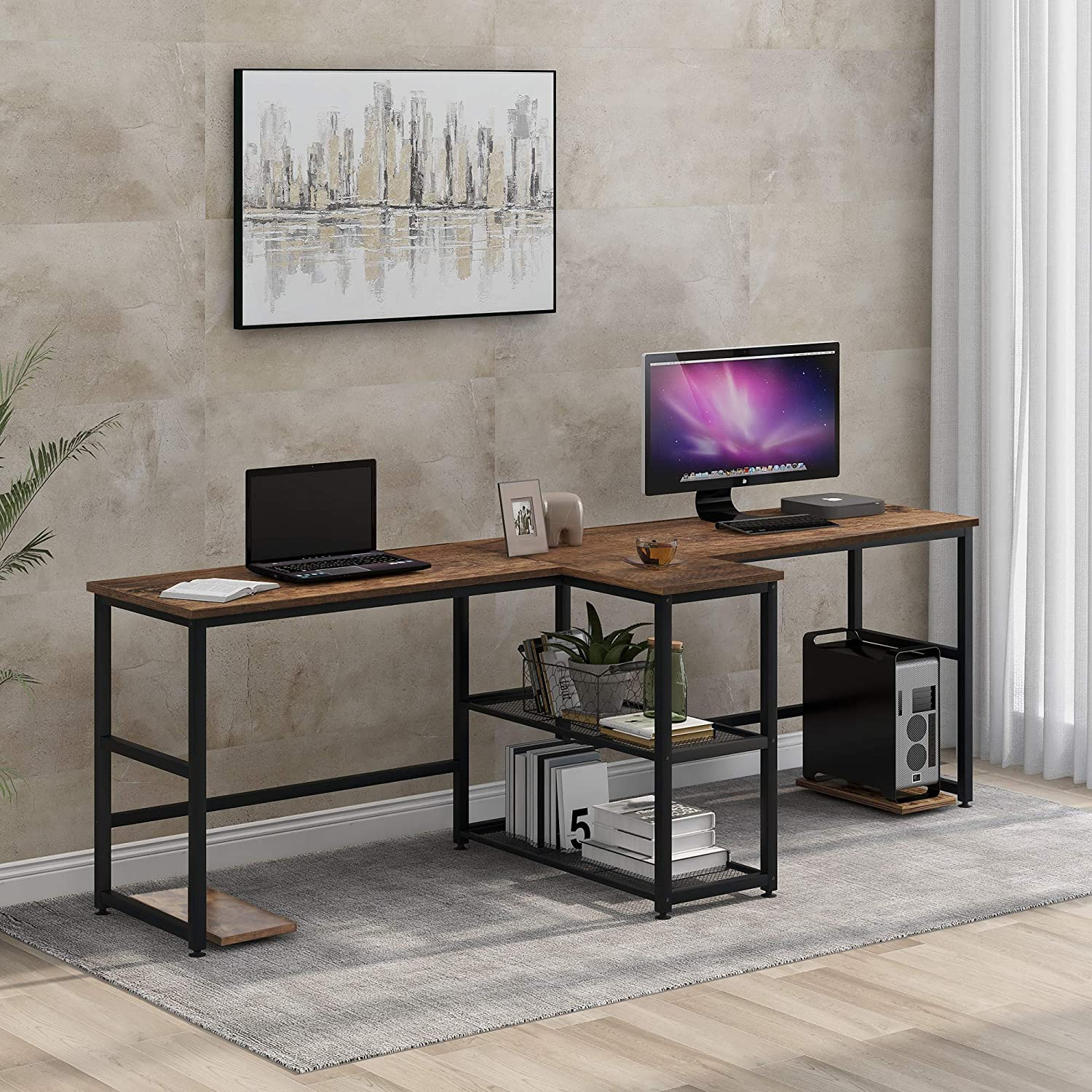Merax Two Person, Double Computer Storage Shelves,Extra Long 2 People Workstation Office Desk, 94.4