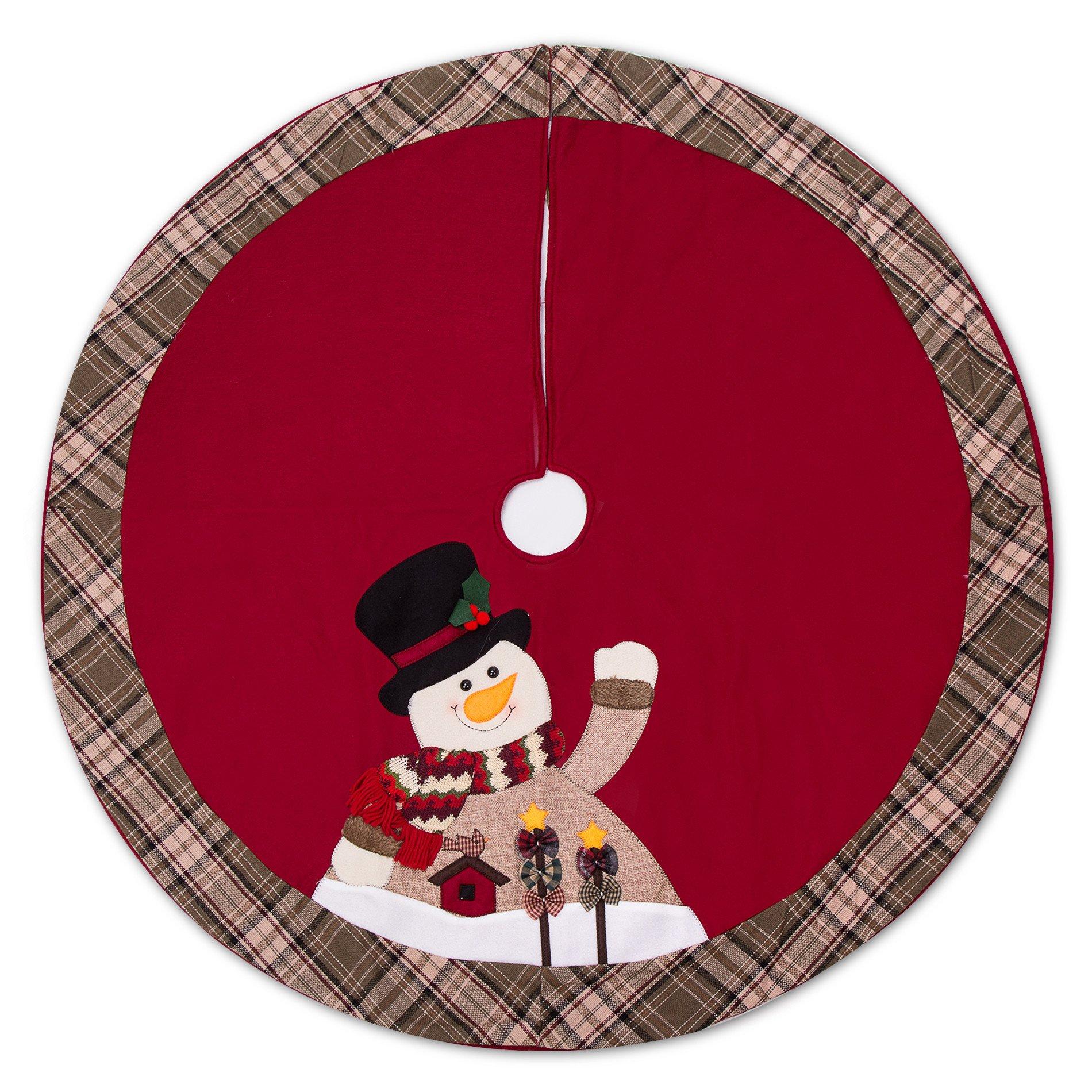 iPEGTOP 42'' Christmas Tree Skirt - Snowman Xmas Tree Skirt Holiday Decorations - Cherry Non Woven and Tartan Rim