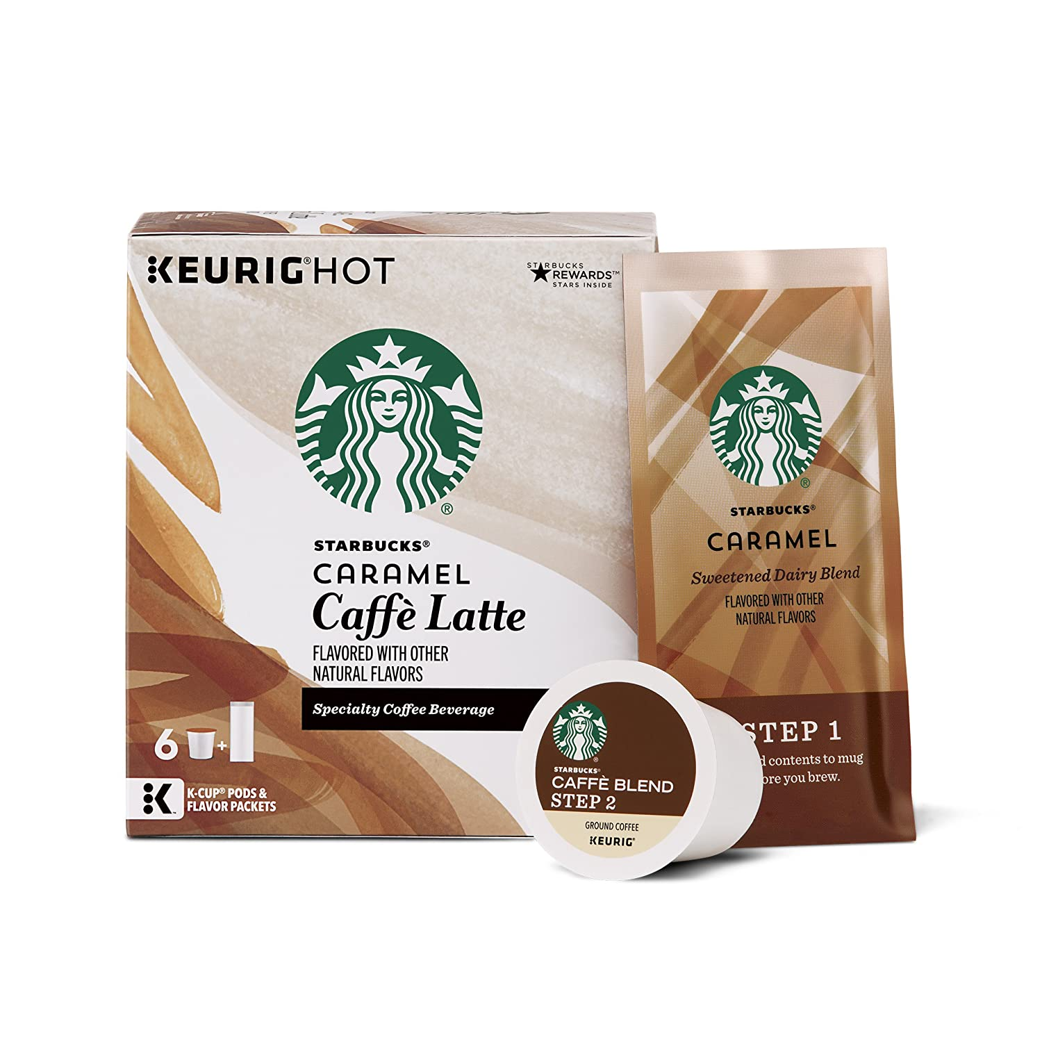 Starbucks Caramel Caffè Latte Medium Roast Single Cup Coffee for Keurig Brewers, 1 Box of 6 (6 Total K-Cup pods)
