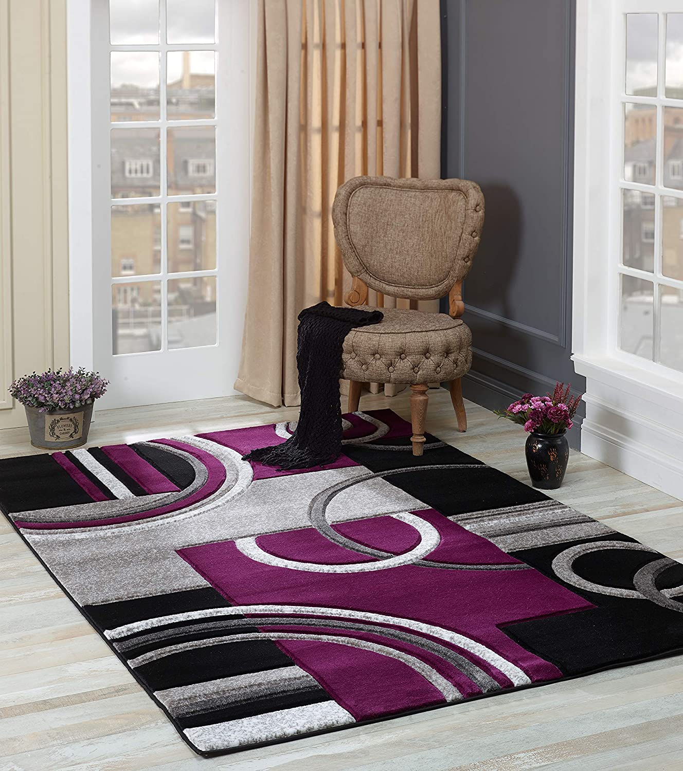 Amazon Com Glory Rugs Area Rug Modern 5x7 Purple Soft Hand Carved Contemporary Floor Carpet With Premium Fluffy Texture For Indoor Living Dining Room And Bedroom Area Home Kitchen