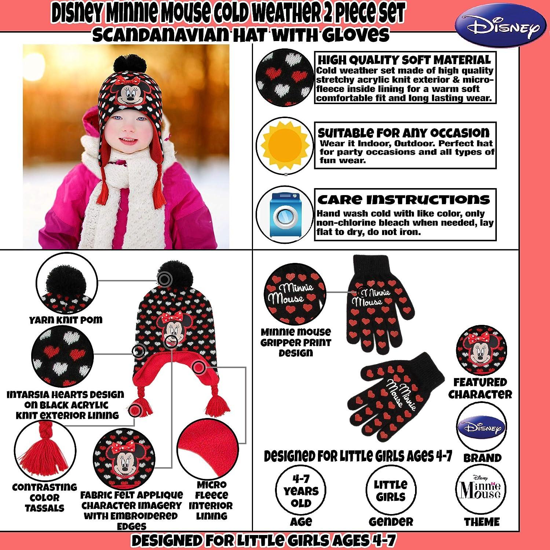 Disney - Gorro y guantes de Minnie Mouse para niñas de 4 a 7 años ...