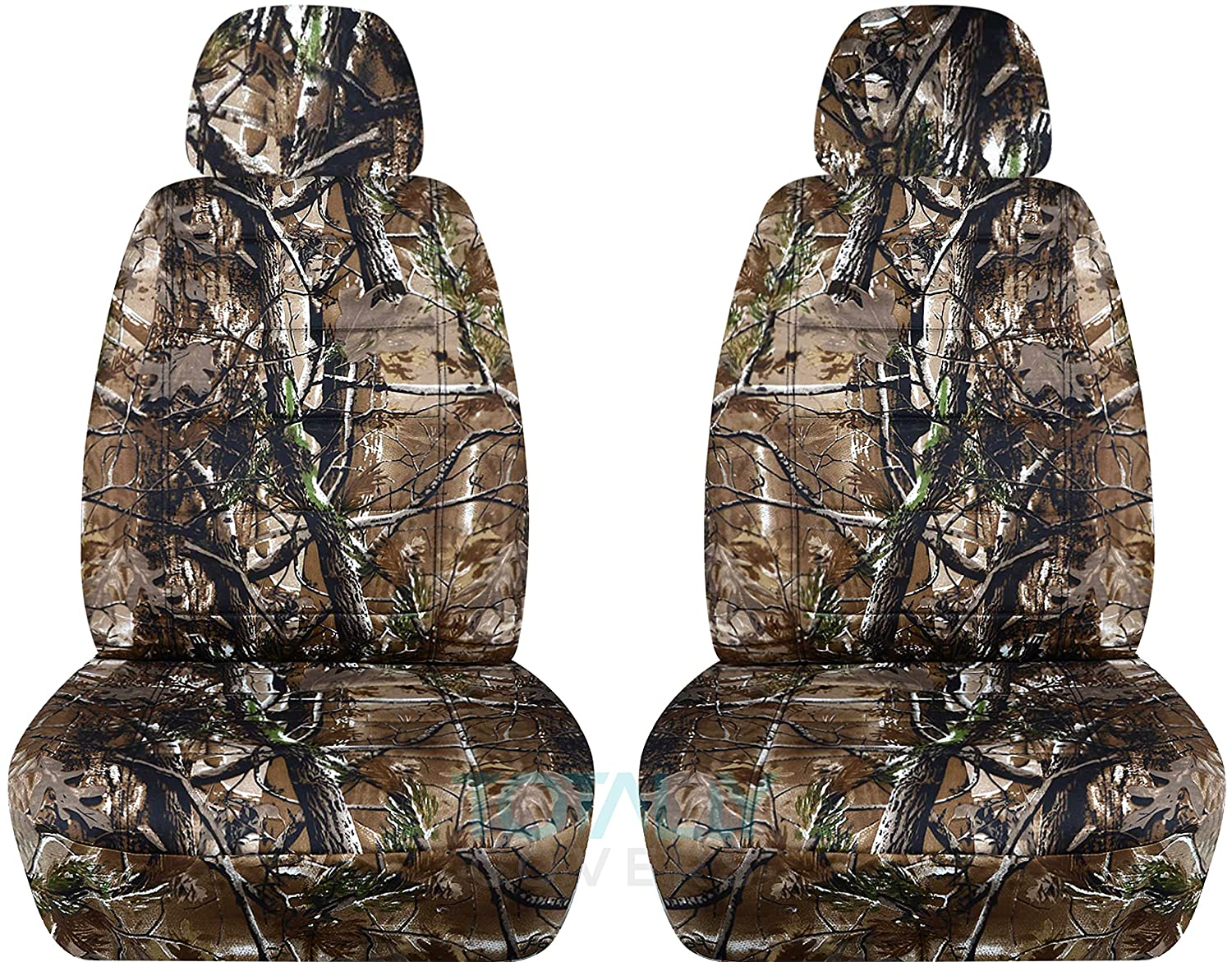 Front Will Make Fit Any Car//Truck//Van//SUV Semi-Custom Fit 22 Prints Camouflage Car Seat Covers w 2 Separate Headrest Covers: Gray Camo