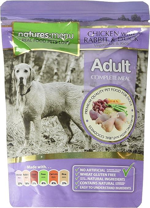 4 paquetes de alimentos para perros de Natures (pollo con conejo, pato y verduras y arroz)