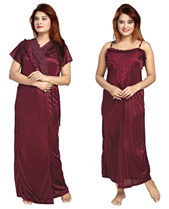 Be You Fashion Women Satin Maroon Lace 2 piece Nighty Set at Amazon ... 9bcade09f
