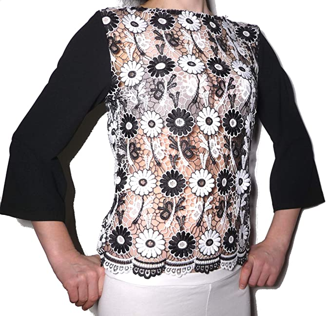 Blusa casaca Camisa Camisa Camiseta Elegante Transparente Fantasia Blanco Negro Bianco/Nero a fantasia(