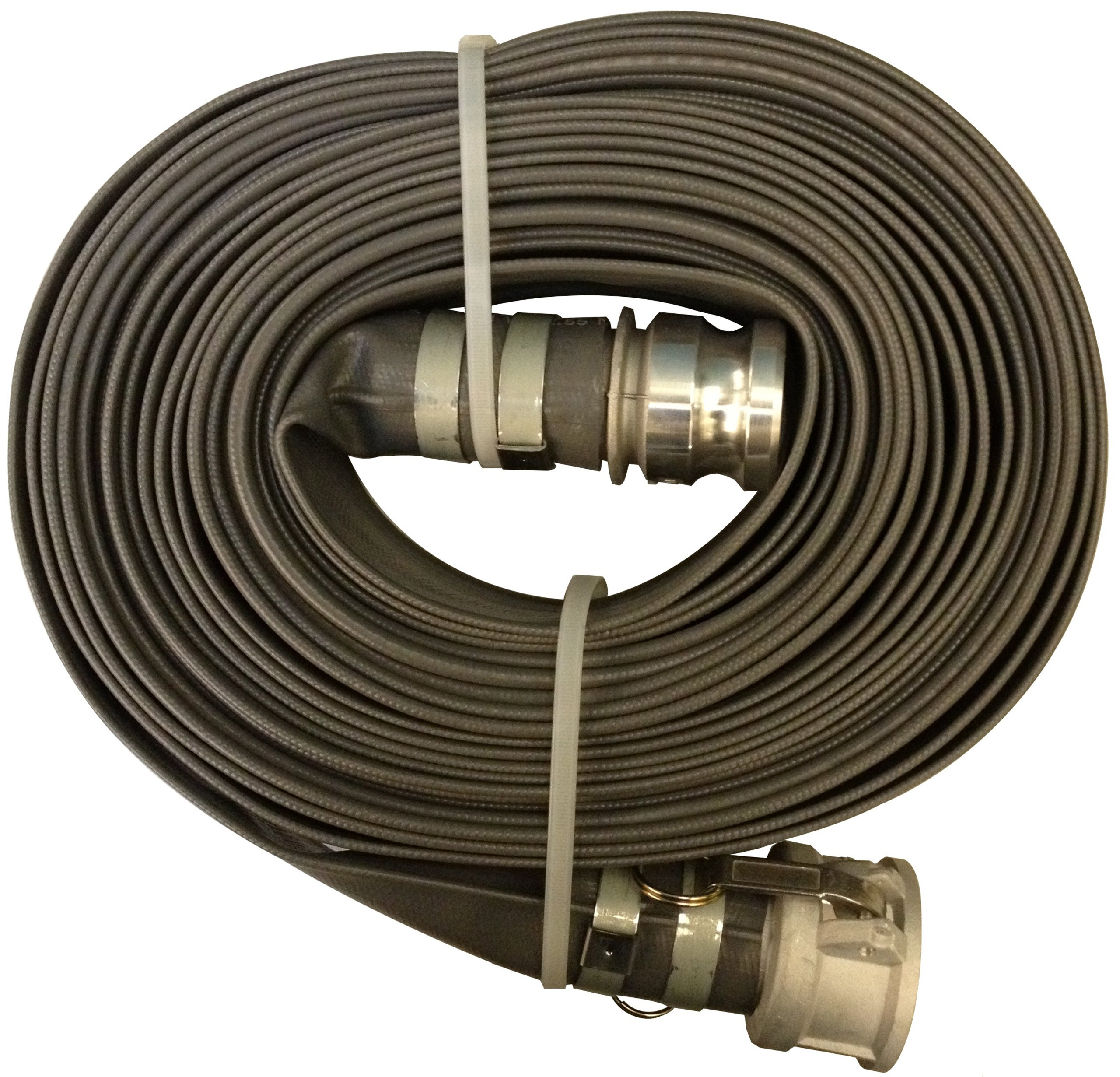 Goodyear EP Spiraflex Pliovic Compound Discharge Hose Assembly, Gray, 2'' Male X Female (CXE) Camlocks, 80 PSI Maximum Pressure, 2'' Hose ID, 50' Length by Goodyear Engineered Products