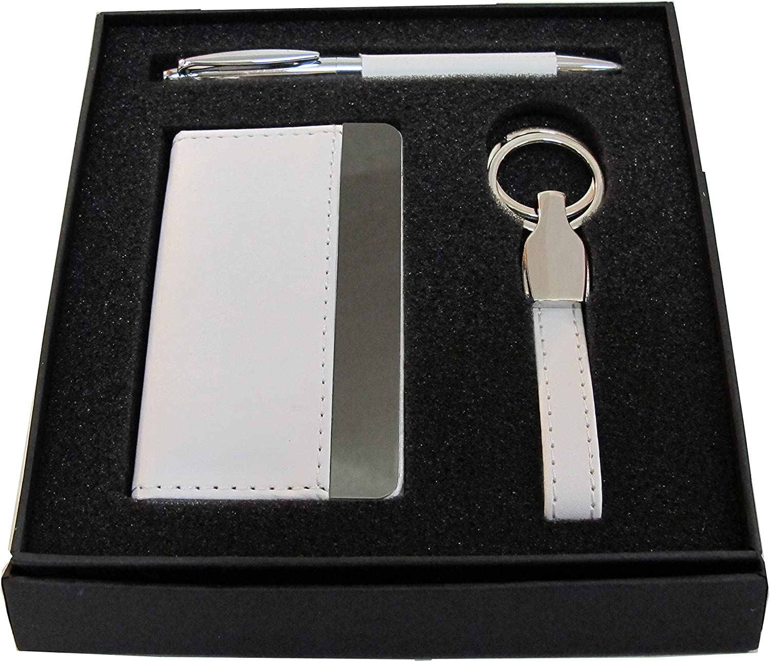 Silver Details about  /Business Card Holder and Key Chain Gift Set .