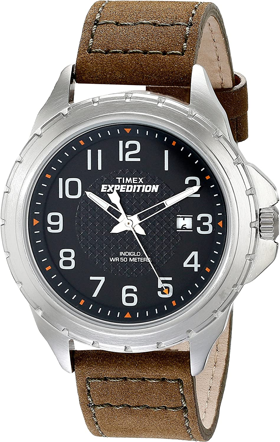 Timex Men s T499459J Expedition Rugged Silver-Tone Watch with Olive Green Leather Band