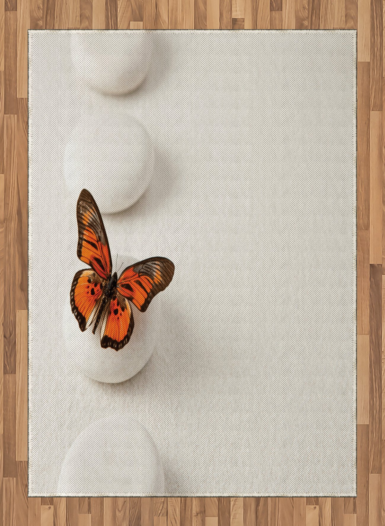Spa Area Rug by Ambesonne, Plain Pattern with Butterfly and Rocks Wellness Purity Healing Serenity Bohemian, Flat Woven Accent Rug for Living Room Bedroom Dining Room, 5.2 x 7.5 FT, White Orange