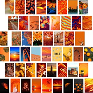 Gibelle Orange Wall Collage Kit Aesthetic Pictures, Aesthetic Room Decor for Teen Girls and Women, Fall Wall Decor for Bedroom, Aesthetic Posters Photos Wall Art, Vsco Room Decor, 50Pcs, 4x6 Inch