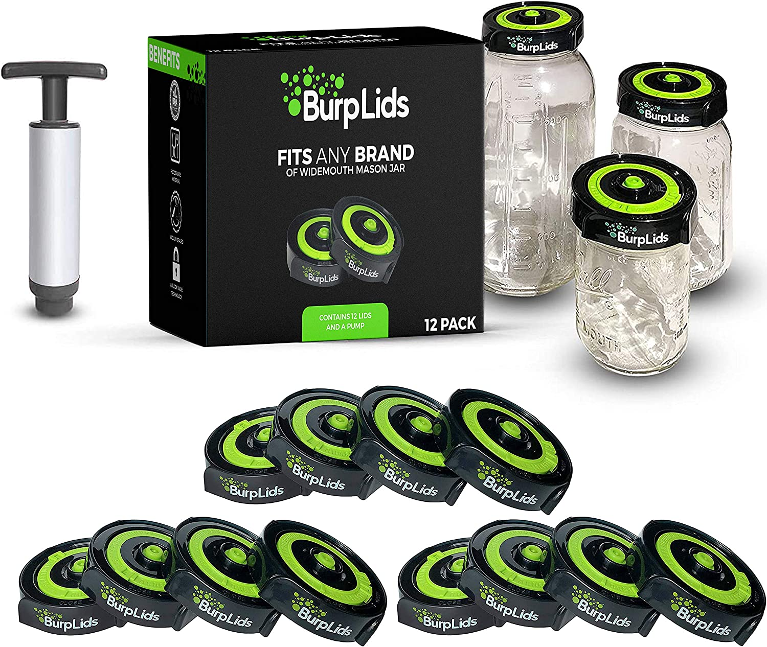 Burp Lids 12 Pack Curing Kit - Fits All Wide Mouth Mason Jar Containers - A Home Harvesting Essential. 12 lids + extraction pump. Vacuum sealed for successful cure.