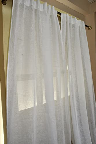 White Linen sheer curtain/panel 52″W X 96″L