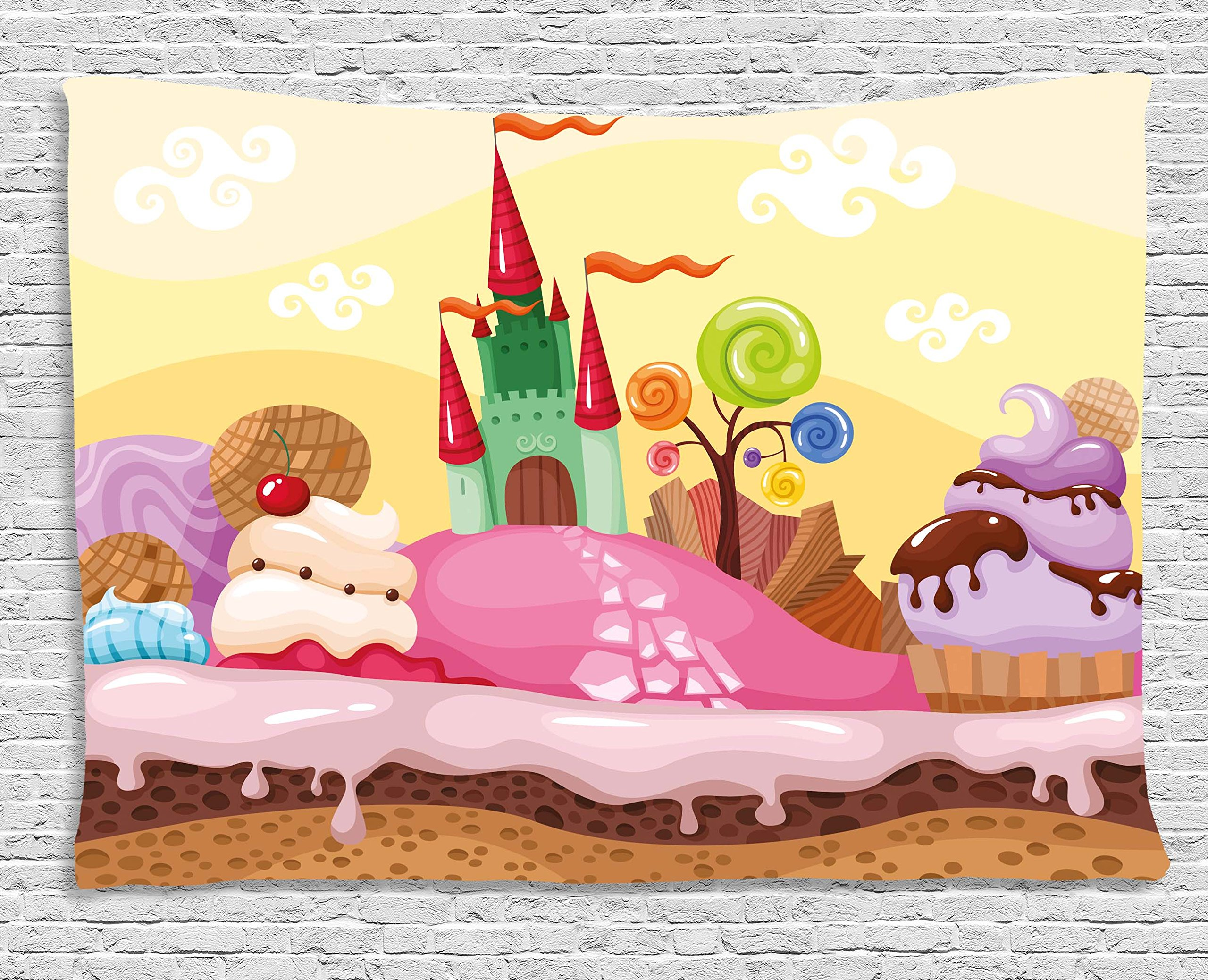 Ambesonne Cartoon Decor Tapestry, Kids Sweet Castle Landscape with Donuts Muffins Ice Cream Nursery Image, Wall Hanging for Bedroom Living Room Dorm, 80 W X 60 L Inches, Sand Brown Pink