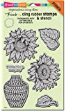 Stampendous CRS5094 Sunny Vase with Template Cling Rubber Stamp Set