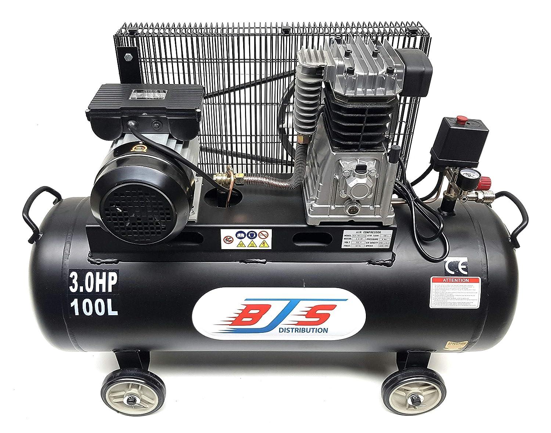 BJS - Compresor de aire (100 L, 3 CV), color negro: Amazon.es ...