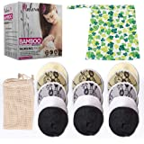 Malexa Nursing Pads 14 Pack - Organic Bamboo Reusable Breast Pads - Contoured Maternity Lace Pads - Washable, Super Absorbent Hypoallergenic Overnight Nurse Insert Kit - Bonus Wash Bag & Wet Bag