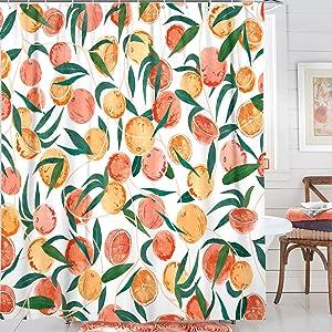 Fowocu Orange Peach Shower Curtain Set, Watercolor Fruit Theme Bathroom Curtains Decor, 72''×72''