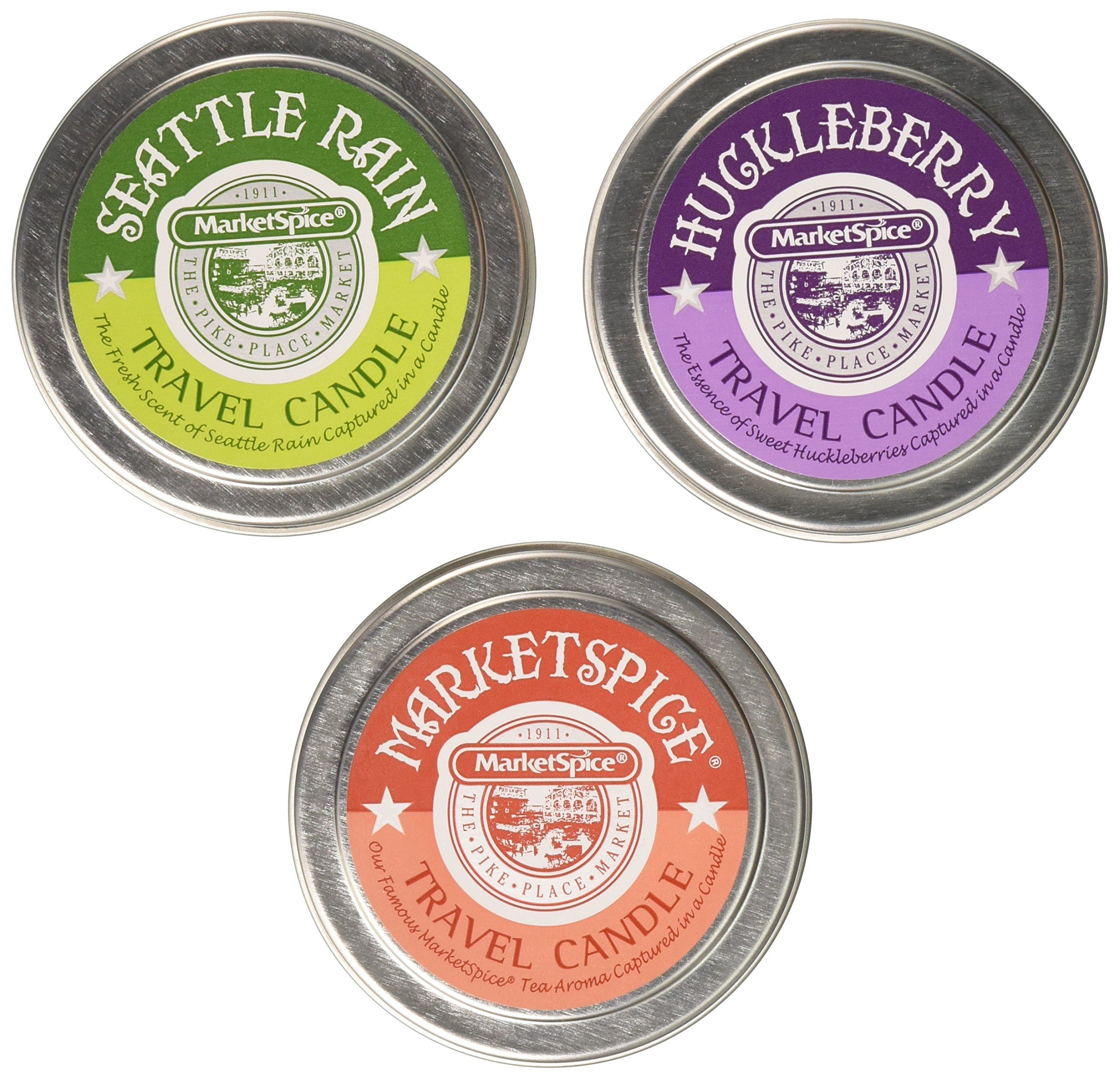 MarketSpice, Seattle Rain, Huckleberry Candle Trio 2 Pack by MarketSpice