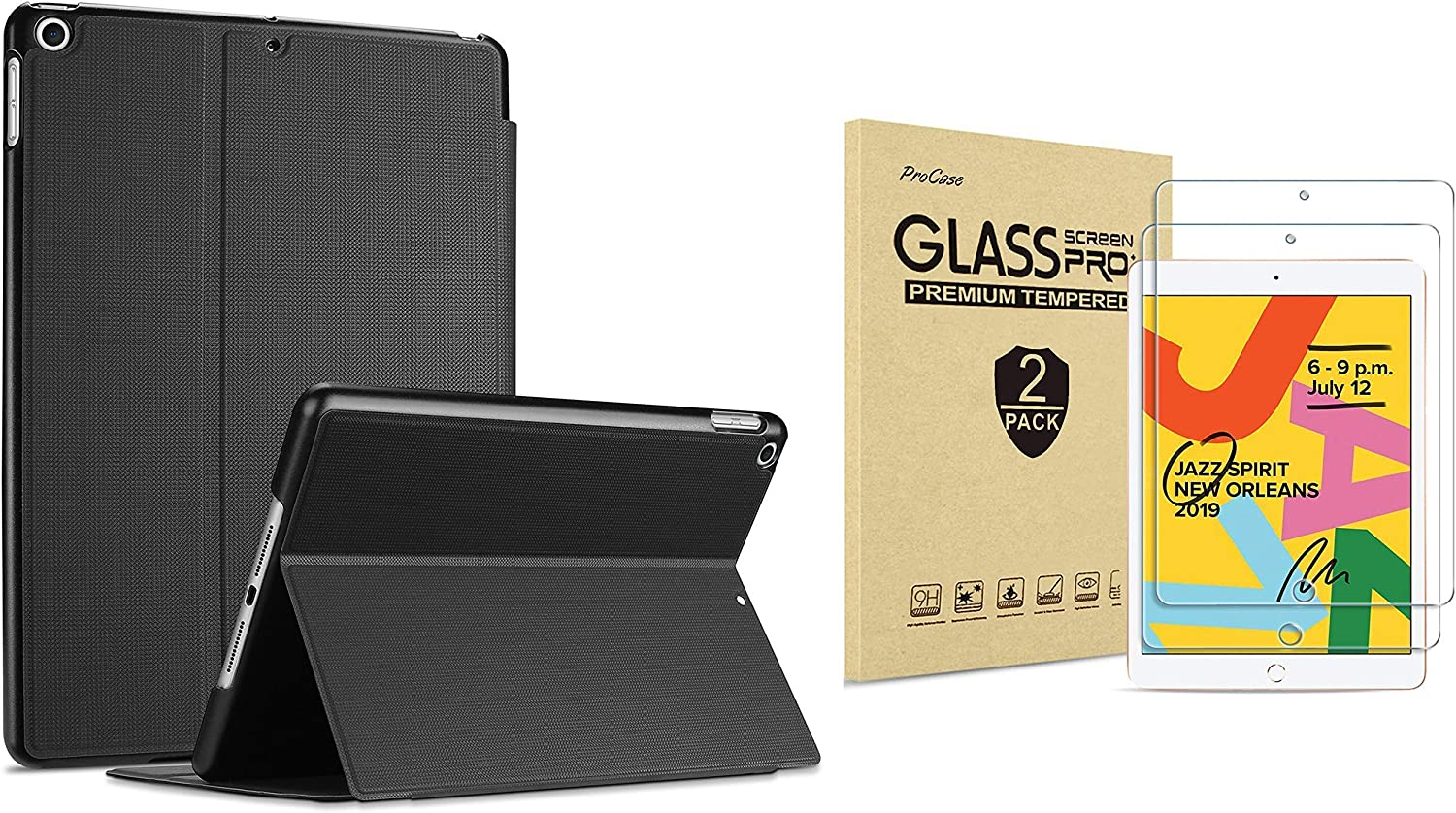 ProCase iPad 10.2 Case 2019 7th Gen iPad Case (Black) Bundle with 2 Pack iPad 10.2 7th Gen Tempered Glass Screen Protector