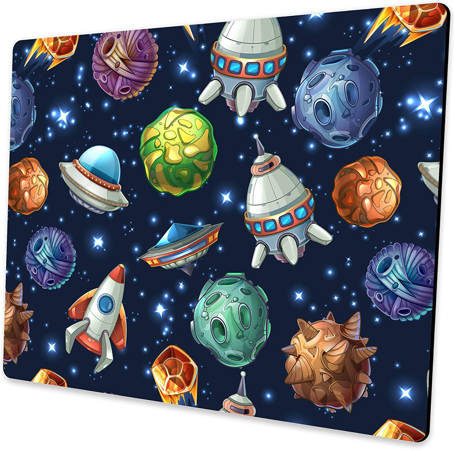 Shalysong Comic Space with Planets and Spaceships Mouse pad Computer Mouse pad with Design Personalized Mouse pad for Laptop Computer Office Decoration Accessories Gift…