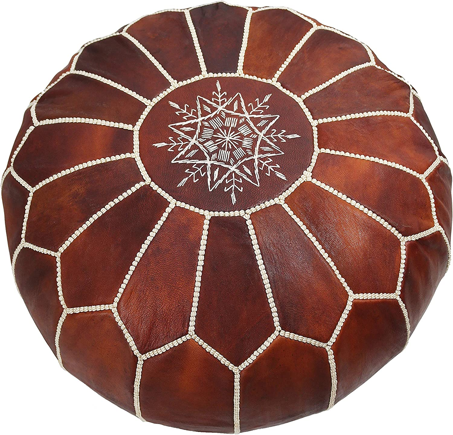 Handmade Moroccan Leather Pouf Marrakesh - Decorative Ottoman Footstool for Bohemian Living Room - Round & Large Ottoman Tan Pouf with White Stitching - Unstuffed (Dark Brown)