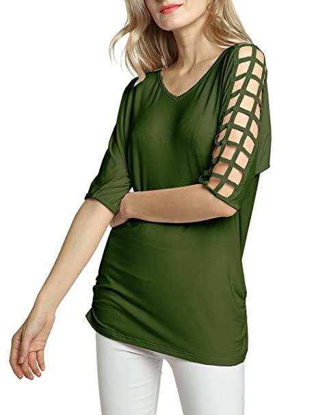 f38bd6f814bb Afibi Womens Cold Shoulder Tunic Tops Batwing 3 4 Sleeve Solid Long T Shirts  (Small