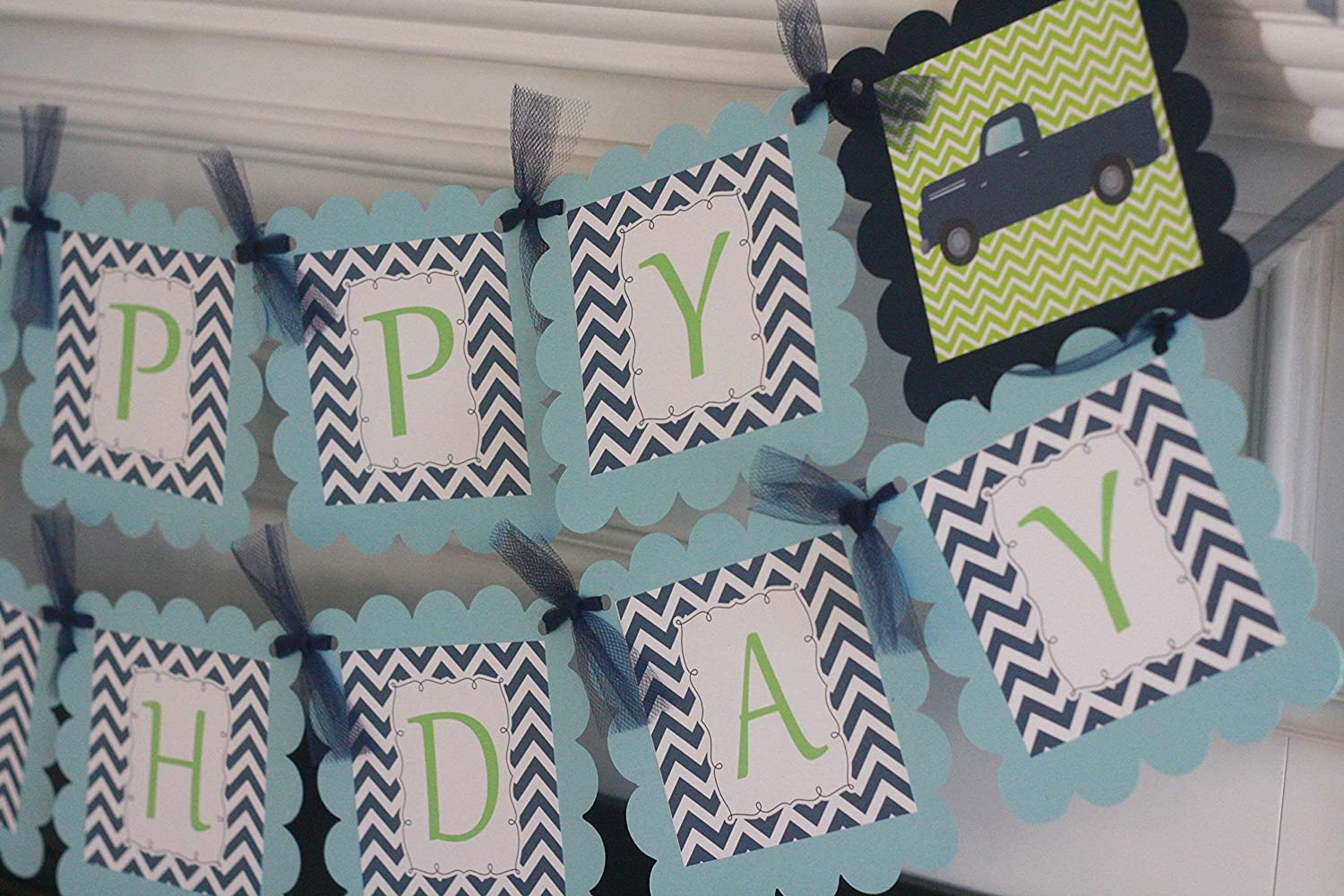 Banners Light Blue /& Lime Green Birthday Cupcake Toppers Party Packages Antique Truck Vintage Navy 12 Door Signs Available Tags