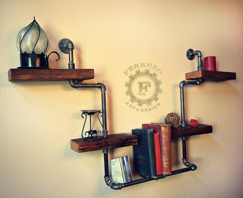 Amazon.com: Steampunk Shelf, Industrial Shelf, Wood Shelf, Pipe ...