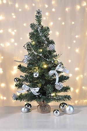 Weihnachtsbaum Im Topf Geschmückt.Bambelaa Künstlicher Weihnachtsbaum Christbaum 75cm Komplett Geschmückt Dekoriert Mit Kugeln Sternen Tannezapfen Schleifen Girlande 20er Led