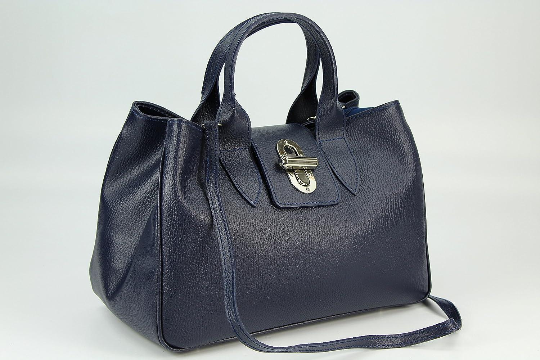 Echt Leder Handtasche Henkeltasche weiß - 36x25x18 cm (B x H x T) Belli B4Tn0mU6sq