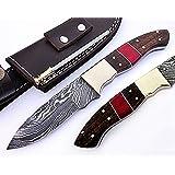 Handmade Damascus Steel Bushcraft Knife - Stunning Easy Grip Handle